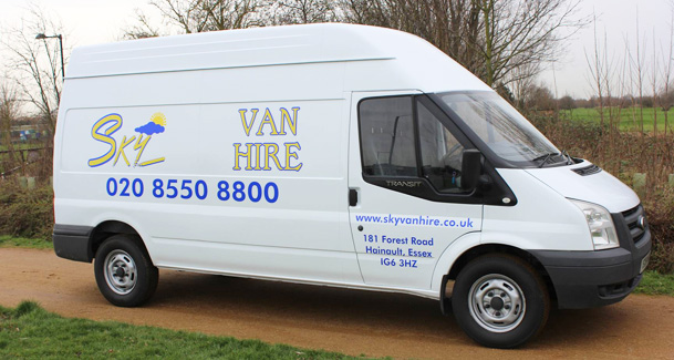 An image showing a white van with a sliding door that is branded with the Sky Van Hire logo.