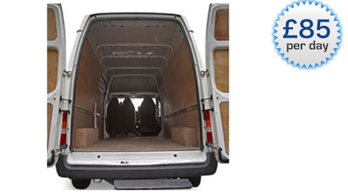 An image showing the inside of a white Sky Van Hire long wheel based van.