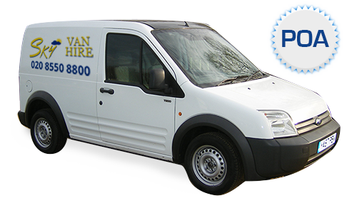 An image showing a small white Wheel Based Van with Sky Van Hire logo.