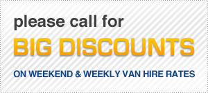An image showing big discounts on weekends and prices for Sky Van Hire.
